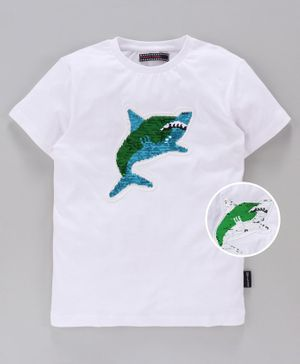 MAGIC TEES Half Sleeves Reverse Sequinned Shark Patch Tee - Blue
