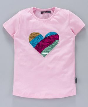 MAGIC TEES Half Sleeves Reverse Sequinned Heart Patch Tee - Multi Colour