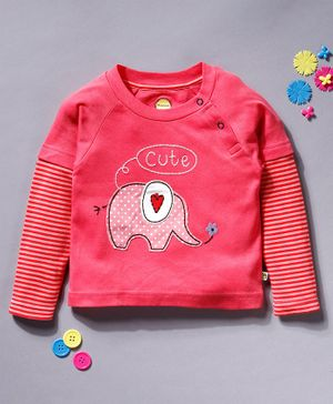 Pranava Elephant Patch Detailed Full Sleeves Organic Cotton Tee - Pink