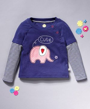 Pranava Elephant Patch Detailed Full Sleeves Organic Cotton Tee - Dark Blue