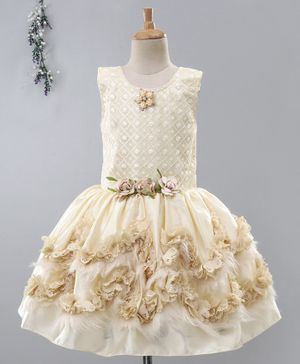 Enfance Flower Embroidered Sleeveless Dress - Cream