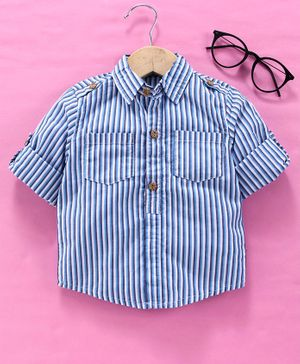 Memory Life Full Sleeves Striped Shirt - Blue