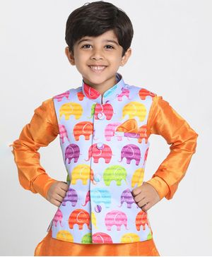 JBN Creation Sleeveless Elephant Print Jacket - Multi Colour