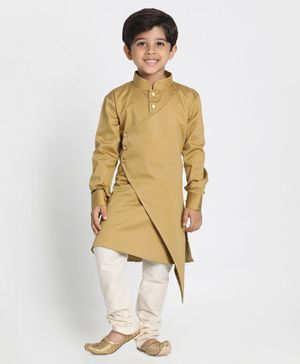 Vastramay Full Sleeves Asymmetrical Kurta With Buttoned Cuff & Pyjama Set - Brown