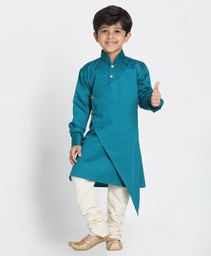 Vastramay Full Sleeves Asymmetrical Kurta With Pyjama - Blue