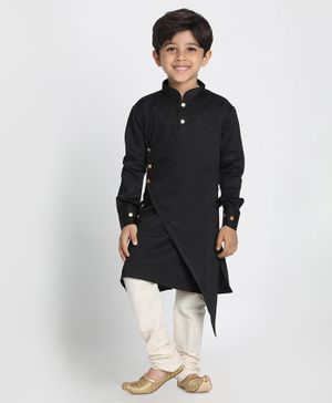 Vastramay Full Sleeves Asymmetrical Kurta With Pyjama - Black