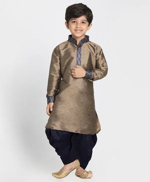 Vastramay Pathani Style Full Sleeves Kurta & Dhoti - Navy Blue