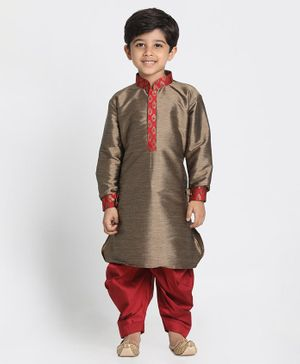 Vastramay Pathani Style Full Sleeves Kurta & Dhoti - Red