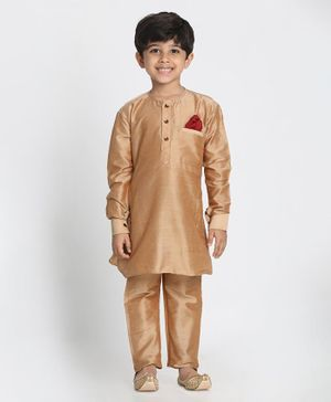 JBN Creation Solid Full Sleeves Kurta With Pajama - Rose Gold