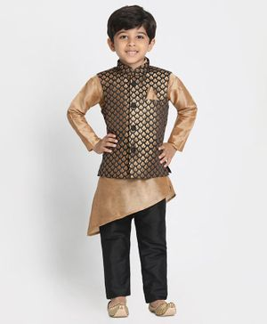 JBN Creation Full Sleeves Kurta With Gold Leaves Print Jacket & Pajama - Rose Gold & Black