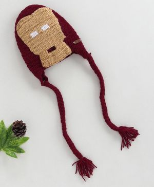 Knitting By Love Cartoon Design Knitted Cap - Maroon