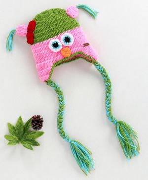 Knitting By Love Angry Bird Crochet Cap -Pink & Green