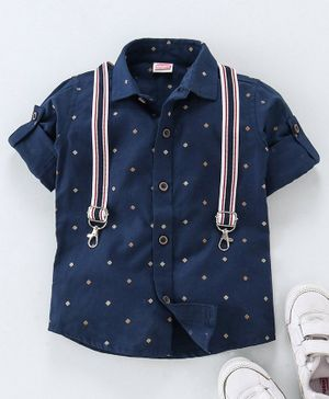 Babyhug Full Sleeves Printed Shirt With Suspenders - Navy Blue