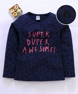 Smarty Full Sleeves Top Text Print - Navy Blue