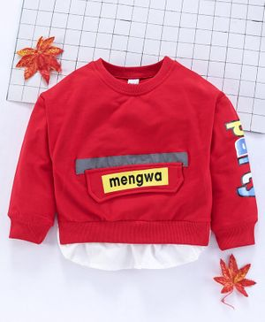 Meng Wa Full Sleeves Solid Winter Wear Tee - Red