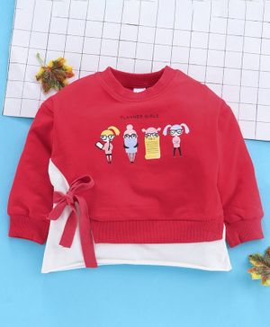 Meng Wa Full Sleeves Winter Wear Tee Planner Girls Print - Red