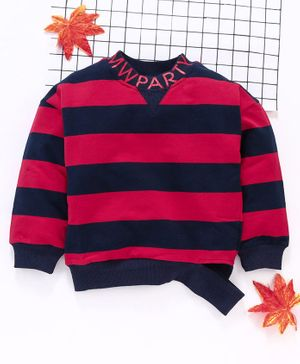 Meng Wa Winter Wear Full Sleeves Striped Tee - Red Navy Blue