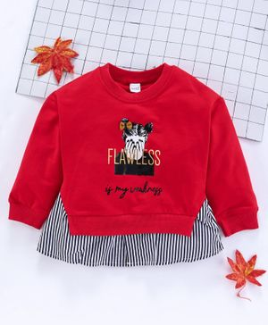 Meng Wa Full Sleeves Winter Wear Tee Flawless Print - Red