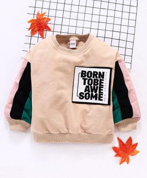 Meng Wa Full Sleeves Winter Wear Tee Awesome Patch - Peach