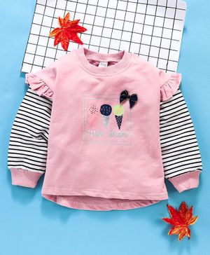 Meng Wa Full Sleeves Winter Wear Tee Ice Cream Print  - Pink