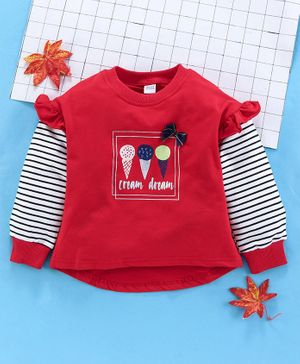 Meng Wa Full Sleeves Winter Wear Tee Ice Cream Print  - Red