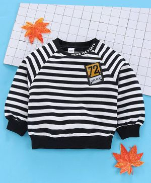 Meng Wa Full Sleeves Striped Winter Wear Tee - White Black
