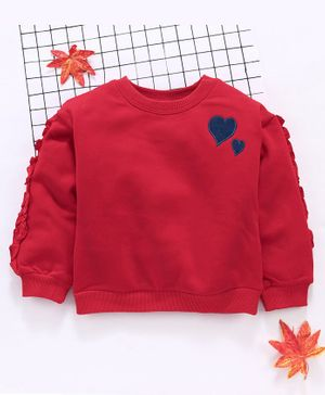 Meng Wa Full Sleeves Winter Wear Tee Heart Patch  - Red