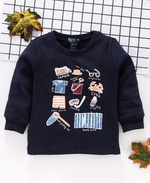 Memory Life Full Sleeves Winter Wear Tee Beach Print - Navy Blue