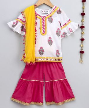 M'andy Half Sleeves Motif Print Kurta & Sharara Set With Dupatta - White & Pink