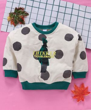 Meng Wa Full Sleeves Winter Wear Tee Thinker Print  - Cream