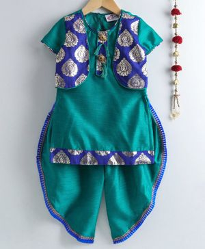 M'andy Half Sleeves Kurta With Gold Foil Print Jacket & Dhoti - Green