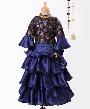 Dhyana Fashion Flower Self Print Three Fourth Sleeves Choli With Lehenga & Dupatta - Blue