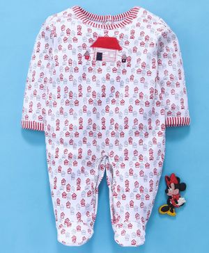 Baby Go Full Sleeves Footed Sleep Suit - Red