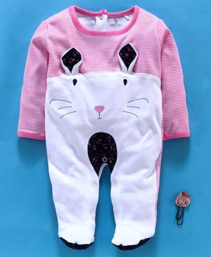 Baby Go Full Sleeves Footed Romper Bunny Design - Pink White