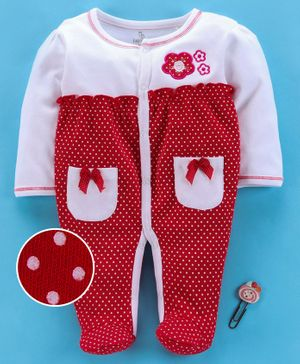 Baby Go Full Sleeves Footed Romper Floral Embroidery - White Red