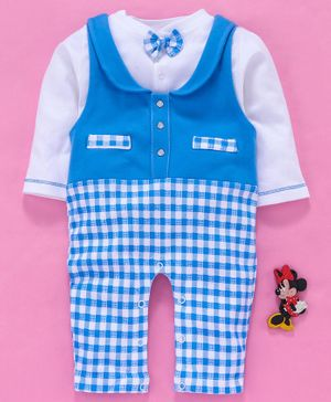 Baby Go Check Dungaree Style Romper With Tee Bow Applique - Royal Blue White
