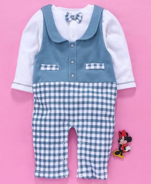 Baby Go Check Dungaree Style Romper With Tee Bow Applique - Blue White