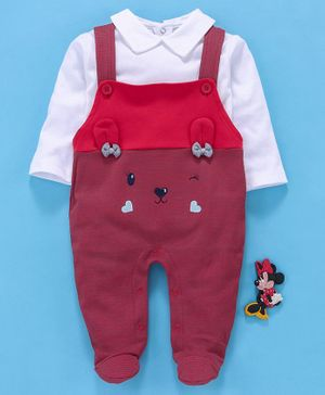 Baby Go Dungaree Style Footed Romper With Tee Animal Design - White Red