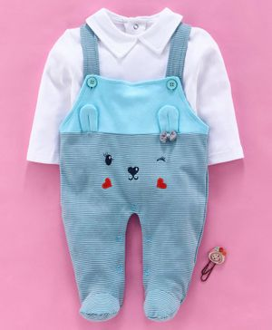 Baby Go Dungaree Style Footed Romper With Tee Animal Design - White Blue