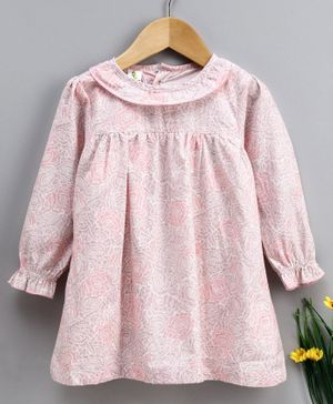 Cucumber Full Sleeves Night Gown Floral Print - Pink