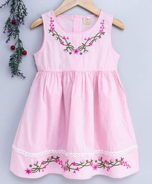 Smile Rabbit Sleeveless Floral Embroidered Frock - Light Pink