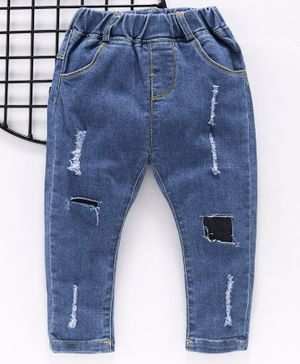 Little One Full Length Solid Ripped Jeans - Blue
