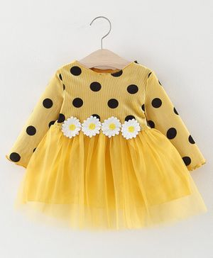 Pre Order - Awabox Full Sleeves Flower Decorated Waistline Dress - Yellow