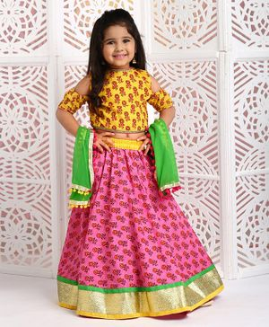 Kids Chakra All Over Floral Butti Print Half Sleeves Cold Shoulder Choli With Lehenga & Dupatta - Pink