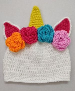 Knit Masters Flower Decorated Cap - White