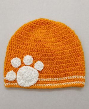 Knit Masters Tiger Paw Design Cap - Orange