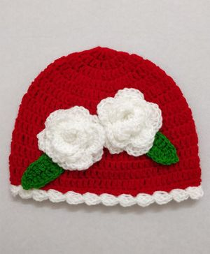 Knit Masters Flower Decorated Cap - Red