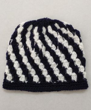 Knit Masters Spiral Puff Pattern Cap - Navy Blue