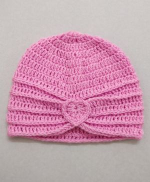 Knit Masters Turban Style Heart Pattern Cap - Pink