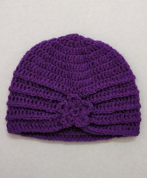 Knit Masters Turban Style Flower Pattern Cap - Purple